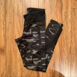 Black Camouflage Leggings with Zippers and Mesh